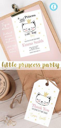 e184f6fccc DIY Little Princess Kitty Cat Birthday Invitations