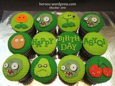 Asyqi's PLANTS VS ZOMBIES Birthday Cupcakes
