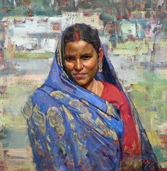 """""""Mokama Woman in Blue Sari"""" by Delbert Gish. I love the concise modelling of the face, contrasted against the painterly swaths of color around it Art Paintings For Sale, Original Paintings For Sale, Acrylic Portrait Painting, Portrait Paintings, Oil Paintings, Indian Artwork, Ariana Grande Drawings, Female Art, Photo Art"""