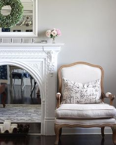 The Secret to Decorating a Fireplace - DIY Decorator Diy Fireplace, Fireplaces, Tree Tops, Cool Rooms, Wall Spaces, Beautiful Interiors, Hydrangea, Gentleman, Accent Chairs