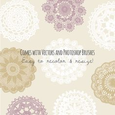 Doily Clip Art Set // Beautiful Vintage Lace Doilies // Photoshop Brush Stamp // Vector EPS Editable // Cream Tan Beige // Commercial Use
