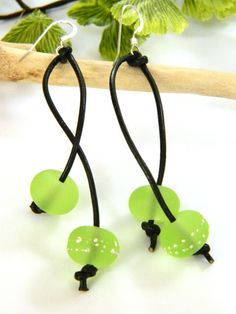 Lime Green Lampwork Earrings Black Leather Cord Long Silver Handmade - Blonde Peach Jewelry