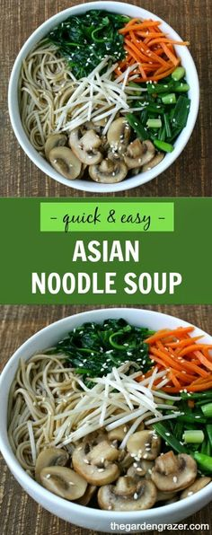 Easy, satisfying Asian Noodle Soup loaded with flavorful veggies! Minimal effort, but maximum enjoyment - our go-to on busy nights!! | thegardengrazer.com | #vegan #soup