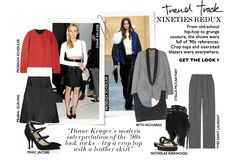 NINETIES redux From old–school hip–hop to grunge couture, the shows were full of references. Crop tops and oversized blazers were everywhere. GET THE LOOK Look Rock, Oversized Blazer, Diane Kruger, Get The Look, Old School, Blazers, Grunge, Hip Hop, Couture
