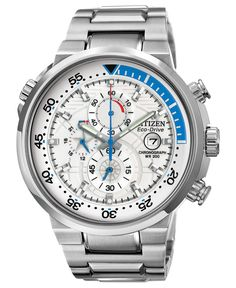 Citizen Watch, Mens Chronograph Eco-Drive Endeavor Stainless Steel Bracelet 46mm CA0440-51A - All Watches - Jewelry & Watches - Macys