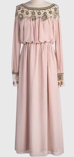 Apricot Long Sleeve Bead Pleated Chiffon Dress
