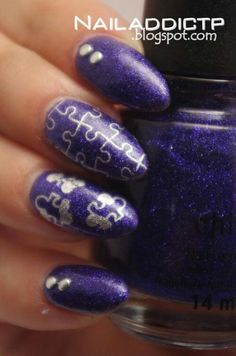 Purple silver puzzles pieces nail art
