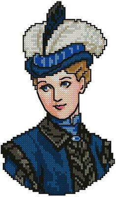 0 point de croix portrait femme victorienne en bleu - cross stitch portrait blue victorian lady