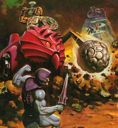 "Close-up of the box illustration for the ""Bashasaurus,"" a heroic vehicle in the Masters of the Universe line of toys"