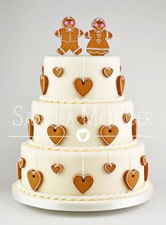 Gingerbread Hearts Holiday Cake.