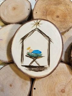 Baby Jesus in Manger Christmas Ornament on Wood