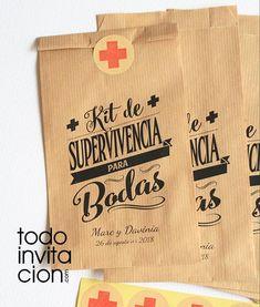 """BOLSAS KRAFT """"KIT DE SUPERVIVENCIA 2"""" - Pack 20 und. - invitaciones y detalles originales - Todoinvitacion"""