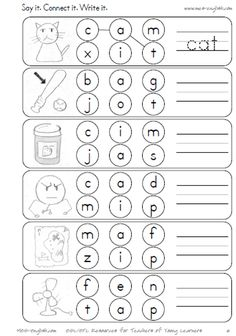 Phonics worksheets on short vowels