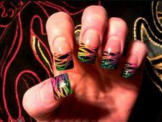 Black glitter, rainbow nails