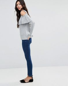ASOS Tall | ASOS TALL Fine Sweater With Ruffle Cold Shoulder