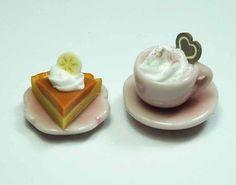 Dollhouse-Miniature-Cup-of-Coffee-Cake-Slice-on-Ceramic-Plate-Mini-Food