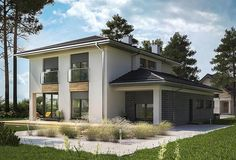 Projekt domu Piryt - murowana – beton komórkowy 164 m2 - koszt budowy - EXTRADOM Architect House, Garage Doors, Shed, Outdoor Structures, House Design, Mansions, House Styles, Outdoor Decor, Home Decor