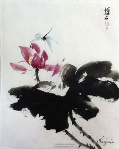 Splashing ink Chinese brush painting of red lotus and dragonfly