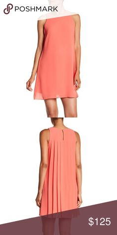"""Vince Camuto Pleated Chiffon Dress. Vince Camuto Pleated Chiffon Dress. Crew neck Sleeveless Back keyhole with button closure Chiffon construction Lined Approx. Length 36"""" Size 10  Underarm to Underarm 19"""" Shell 100% Polyester Lining 95% Polyester, 5% Spandex Vince Camuto Dresses Mini"""