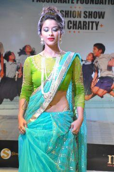 madhurima in lehenga type sarees