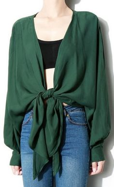 Love this Color for Fall! Great Top for Layered Looks! Emerald Green Color Tie…