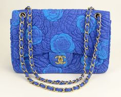 Chanel Quilted Blue Leather Shoulder Bag with Turquoise Leather Camellias. As New Condition with Carte D-Authenticite, Number 12512207.