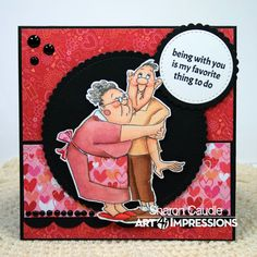 My Favorite Thing by Sharon (Art Impressions Stamps) Wedding Anniversary Cards, Happy Anniversary, Art Impressions Stamps, Hampton Art, Karten Diy, Funny Cards, Scrapbook Cards, Scrapbooking, Card Sketches
