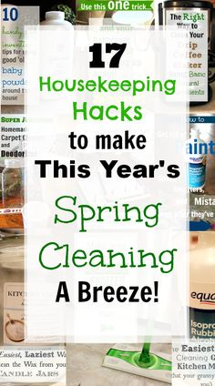 17 Housekeeping Hacks to make this year's Spring Cleaning a Breeze! Some favorite tricks to help you along with your Spring Cleaning this year! Household Cleaning Tips, Deep Cleaning Tips, Cleaning Recipes, House Cleaning Tips, Natural Cleaning Products, Cleaning Solutions, Spring Cleaning, Cleaning Hacks, Cleaning Challenge