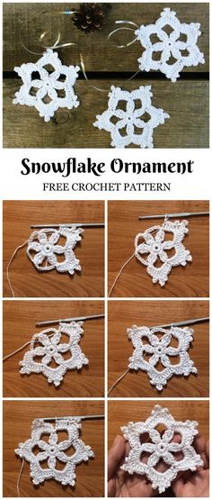 Crochet For Beginners Crochet Snowflake Patterns For Beginners - These are some of the most beautiful crochet snowflake patterns for beginners and right now, I'll be showing you how to make them in the easiest possible ways. Crochet Christmas Decorations, Crochet Ornaments, Holiday Crochet, Crochet Gifts, Knit Crochet, Free Crochet Snowflake Patterns, Christmas Knitting Patterns, Crochet Snowflakes, Christmas Snowflakes
