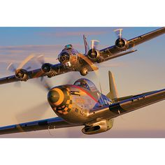 P-51 Mustang with B-17 Flying Fortress Print $50.00