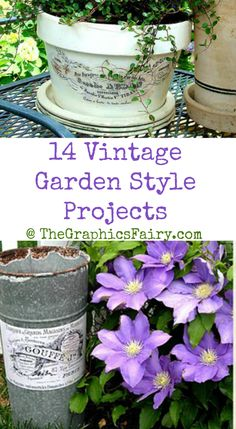 Including some fun ways to transfer images onto Garden Vintage Garden Style Projects! Including some fun ways to transfer images onto Garden pots! Garden Crafts, Garden Projects, Craft Projects, Container Gardening, Gardening Tips, Organic Gardening, Outdoor Plants, Outdoor Gardens, Lawn And Garden