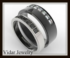 His And Her Black And White Gold Wedding Band Set-Unique Matching Diamond Wedding Rings,Uniqe Matching Rings Matching Wedding Bands, White Gold Wedding Bands, Matching Rings, Wedding Band Sets, Engagement Wedding Ring Sets, Wedding Matches, Diamond Wedding Rings, Celtic Wedding Rings, Rings For Men