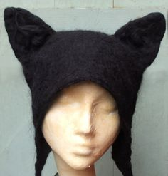 Halloween Black Cat Hat hand felted cosplay fancy by KarenRao, £38.00