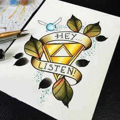 The legend of Zelda traditional tattoo
