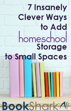 7 Insanely Clever Ways to Add Homeschool Storage to Small Spaces.It can be challenging to keep the overflowing amount of homeschool materials organized especially if space is at a premium in your home. Focusing on the endless possibilities of creating storage options and having a tidy homeschool space at the same time, these storage hacks will have you rethinking small homeschool spaces.