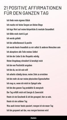 21 positive Affirmationen für den ganzen Tag Here is a nice graphic with all the positive affirmations that will give you strength all day long! Motivation Positive, Positive Mantras, Positive Quotes For Life, Positive Mindset, Life Quotes, Quotes Motivation, Citations Yoga, Pranayama, Journaling