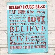 Christmas Subway Art Print  Holiday House Rules  by ValeriePullam, $7.00