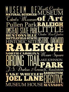 Raleigh North Carolina Typography Art Poster / by LegacyHouseArt, $44.95