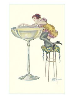 Lady Climbing into Champagne Glass Premium Poster