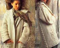 PDF Knitting Pattern Cabled Aran Jacket or Coat 34-42 | Etsy Long Sweater Coat, Long Sweaters, Open Cardigan, Lion Brand, Aran Knitting Patterns, I Cord, Gingham Fabric, Knitted Coat, Coat Patterns