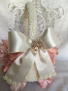 custom blush flower girl basket wedding by TheCrystalFlower