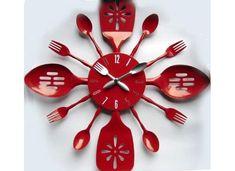 Wonderful Original Wall Clocks By Dario Serio : Colorful Walk In Closet Design With White Red Kitchen Appliances Design