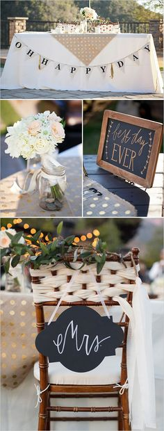 "Sweet heart table ideas with cute bunting and ""Best Day Ever"" chalkboard sign. Captured By: Alyssa Marie Photography ---> http://www.weddingchicks.com/2014/05/09/lucky-penny-wedding-tradition-you-will-love/"