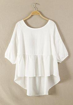 White Plain Hem Irregular Loose Cotton Blend Blouse