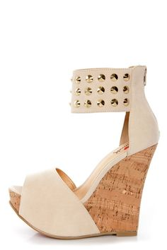 Luichiny Cassi Dee Beige Studded Ankle Cuff Platform Wedges - $85.00.... I'd love these minus the studs