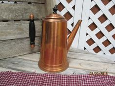 Vintage Tall Copper Coffee Pot Tea Kettle  with Wood Handle & lid topper - Hinged Lid by EvenTheKitchenSinkOH on Etsy