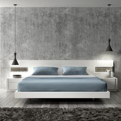 Floating platform bed with built in night tables.