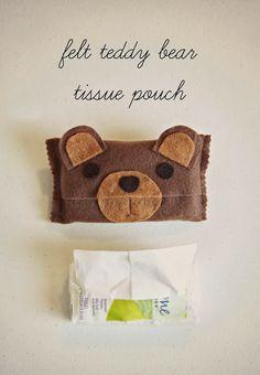 Felt Teddy Bear Tissue Pouch