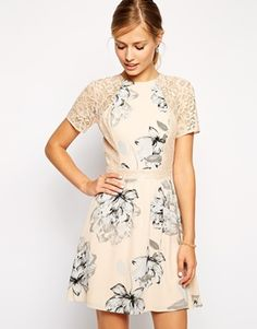 ASOS Skater Dress In Floral Print with Lace Inserts