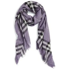 Burberry Giant Check Print Wool & Silk Scarf (3.840 ARS) ❤ liked on Polyvore featuring accessories, scarves, lilac, burberry, wool scarves, fringe scarves, burberry shawl and woolen shawl